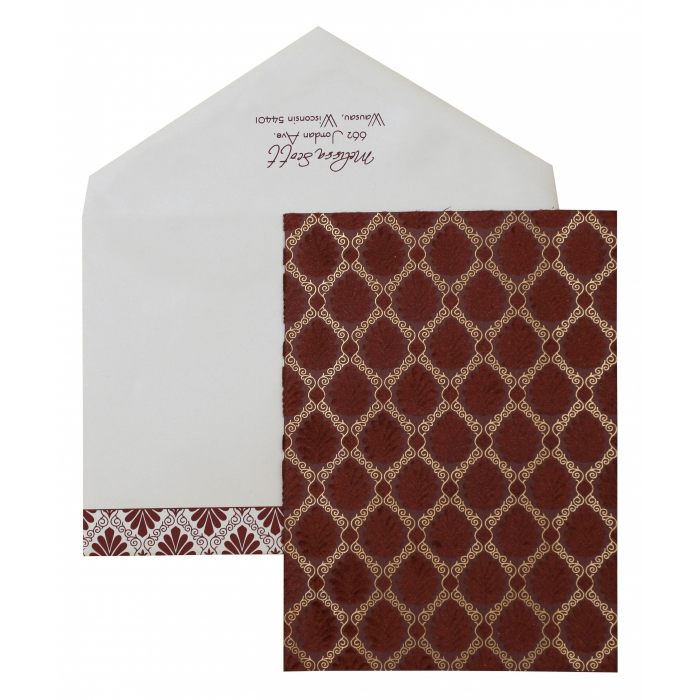 Maroon Matte Paisley Themed - Screen Printed Wedding Invitation : APY-876