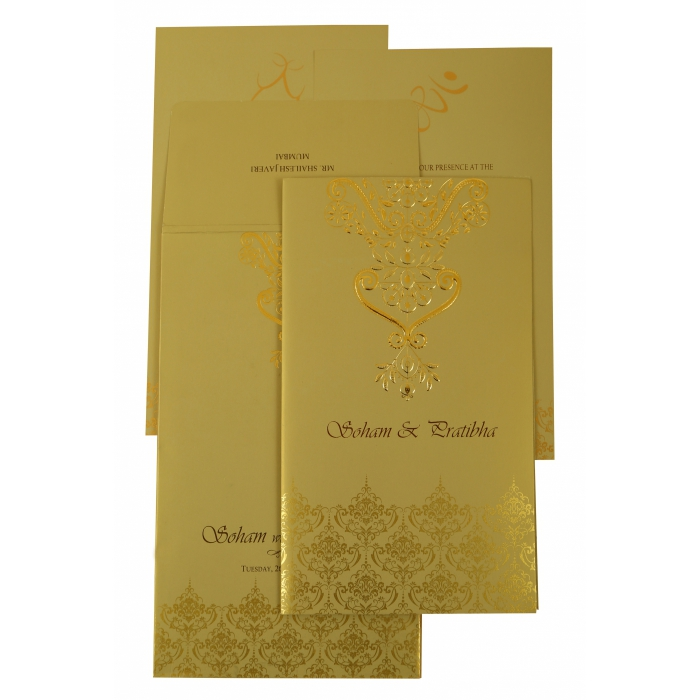 MEHNDI SHIMMERY SCREEN PRINTED WEDDING INVITATION : AC-1920 - A2zWeddingCards