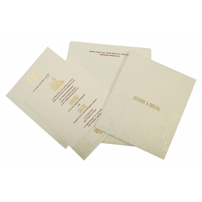 Off White Matte Box Themed - Embossed Wedding Invitation : AIN-1852 - A2zWeddingCards