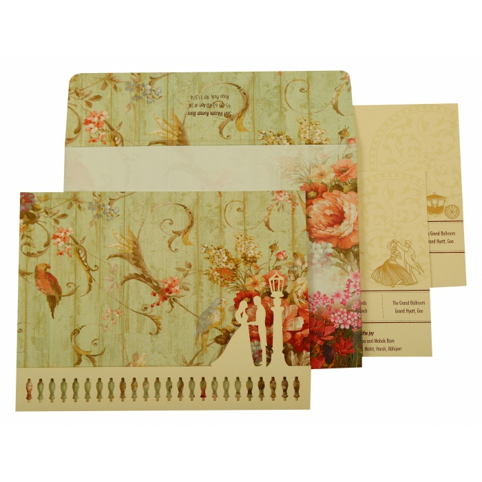 OFF-WHITE MATTE FLORAL THEMED - OFFSET PRINTED WEDDING INVITATION : AI-1932 - A2zWeddingCards