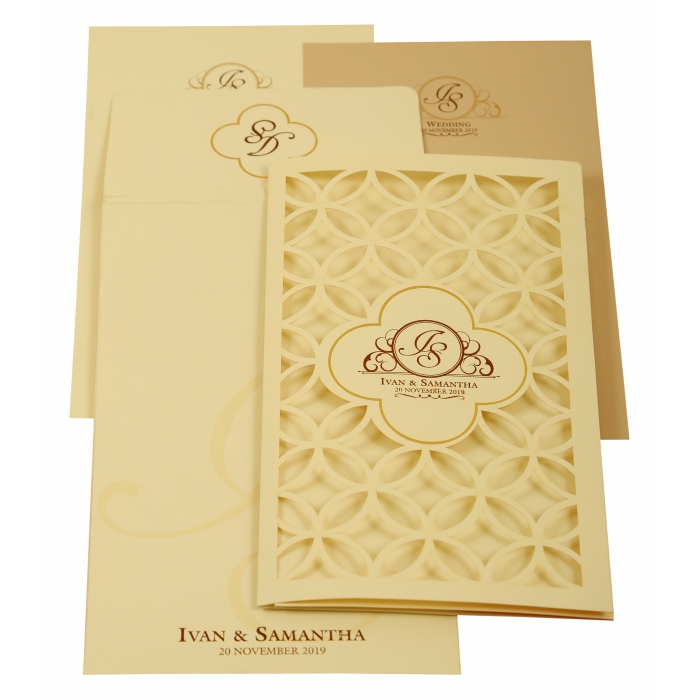 Off White Matte Laser Cut Wedding Invitation : AIN-1911 - A2zWeddingCards