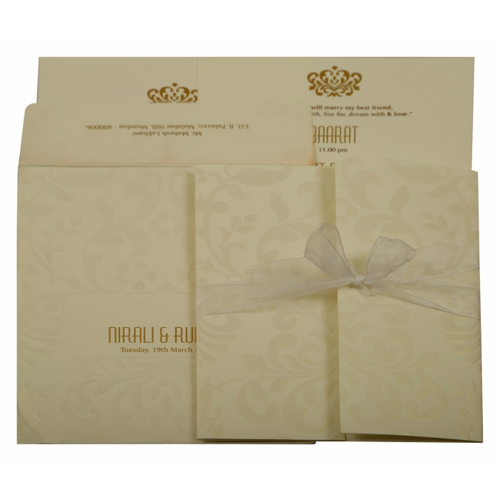 OFF-WHITE MATTE EMBOSSED WEDDING INVITATION : AI-1913 - A2zWeddingCards