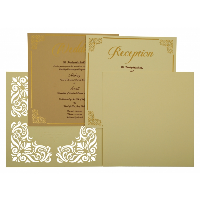 Off White Matte Paisley Themed - Laser Cut Wedding Invitation : AIN-1875 - A2zWeddingCards