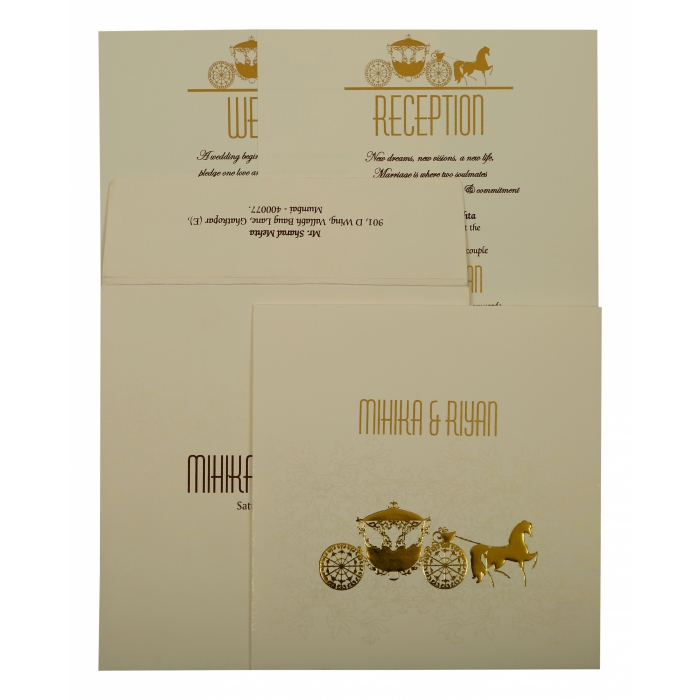 OFF-WHITE MATTE SCREEN PRINTED WEDDING INVITATION : AIN-1896 - A2zWeddingCards