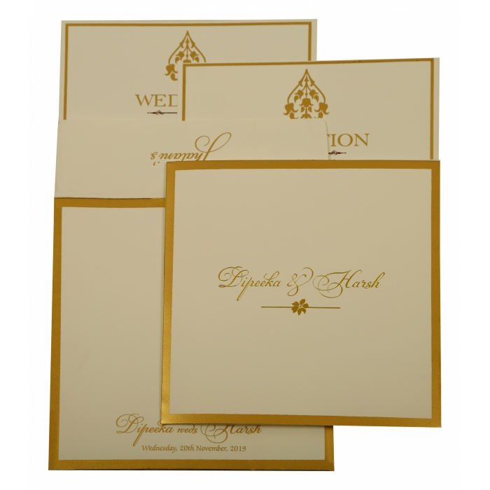 OFF-WHITE MATTE SCREEN PRINTED WEDDING INVITATION : AW-1931 - A2zWeddingCards