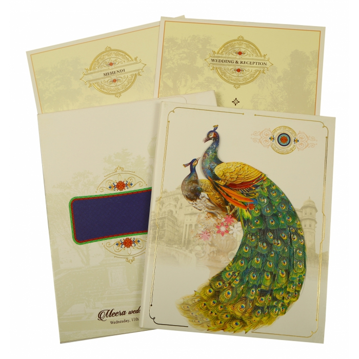 OFF-WHITE SHIMMERY PEACOCK THEMED - FOIL STAMPED WEDDING INVITATION : AW-1866 - A2zWeddingCards