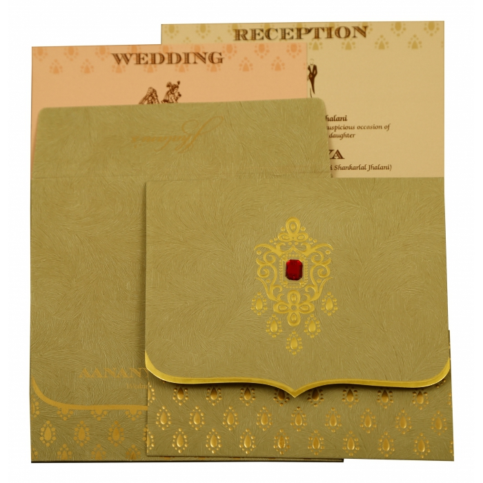 Olive Green Matte Paisley Themed - Foil Stamped Wedding Invitation : AIN-1884 - A2zWeddingCards