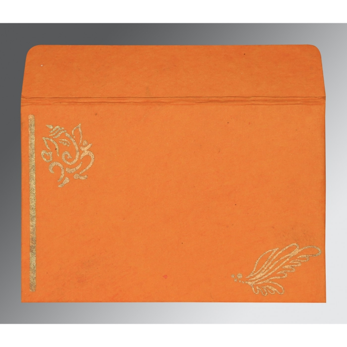 Orange Handmade Cotton Screen Printed Wedding Card : AW-2251 - A2zWeddingCards