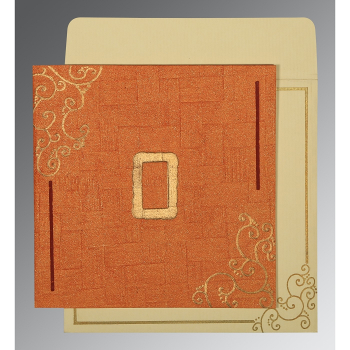 Orange Handmade Shimmer Embossed Wedding Invitation : AD-1236 - A2zWeddingCards