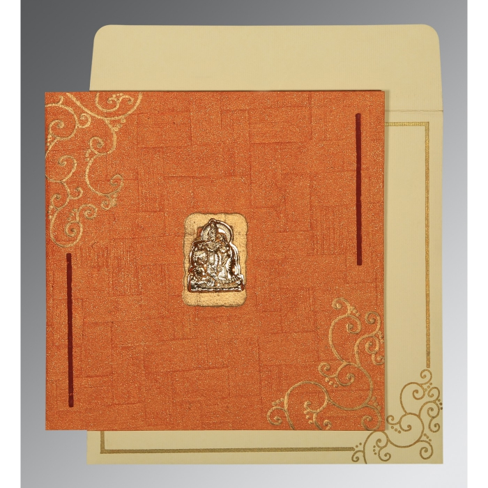 Orange Handmade Shimmer Embossed Wedding Invitation : AG-1236 - A2zWeddingCards