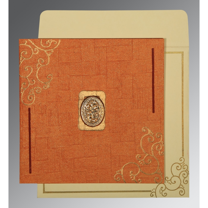 Orange Handmade Shimmer Embossed Wedding Invitation : AI-1236 - A2zWeddingCards