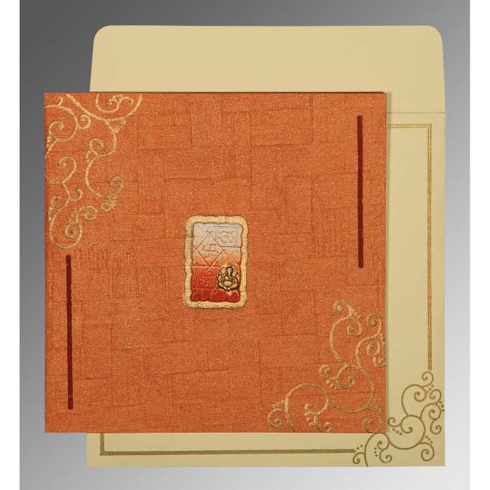 ORANGE HANDMADE SHIMMER EMBOSSED WEDDING INVITATION : AIN-1236 - A2zWeddingCards