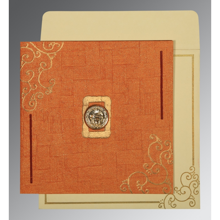 Orange Handmade Shimmer Embossed Wedding Invitations : ARU-1236 - A2zWeddingCards