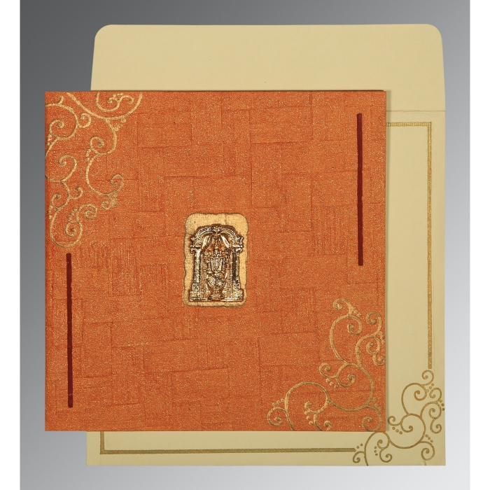 ORANGE HANDMADE SHIMMER EMBOSSED WEDDING INVITATION : ASO-1236 - A2zWeddingCards