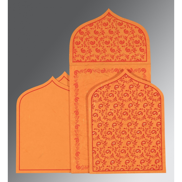 Orange Handmade Silk Paisley Themed - Glitter Wedding Invitation : AC-8208G - A2zWeddingCards