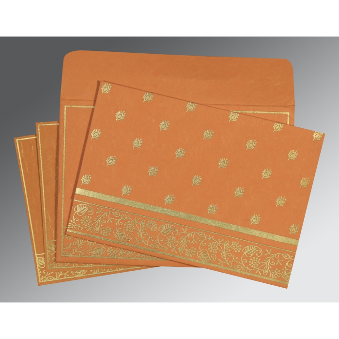 BURNT ORANGE HANDMADE SILK SCREEN PRINTED WEDDING CARD : AI-8215L - A2zWeddingCards