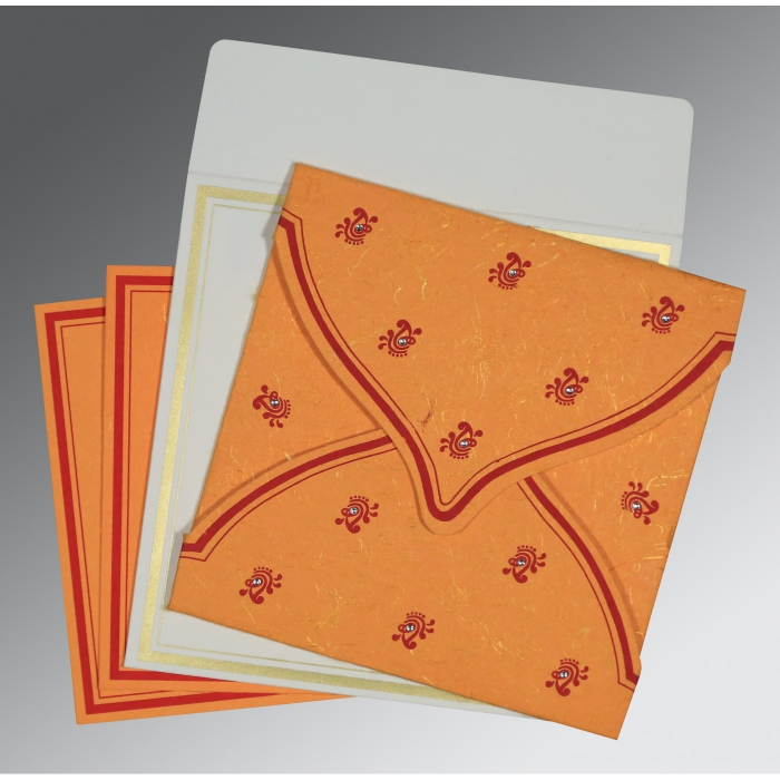 Orange Handmade Silk Unique Themed - Screen Printed Wedding Card : AD-8203J - A2zWeddingCards