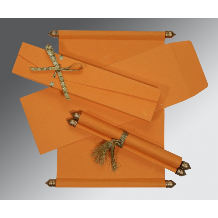 Orange Handmade Silk Wedding Card : ASC-5001H - A2zWeddingCards