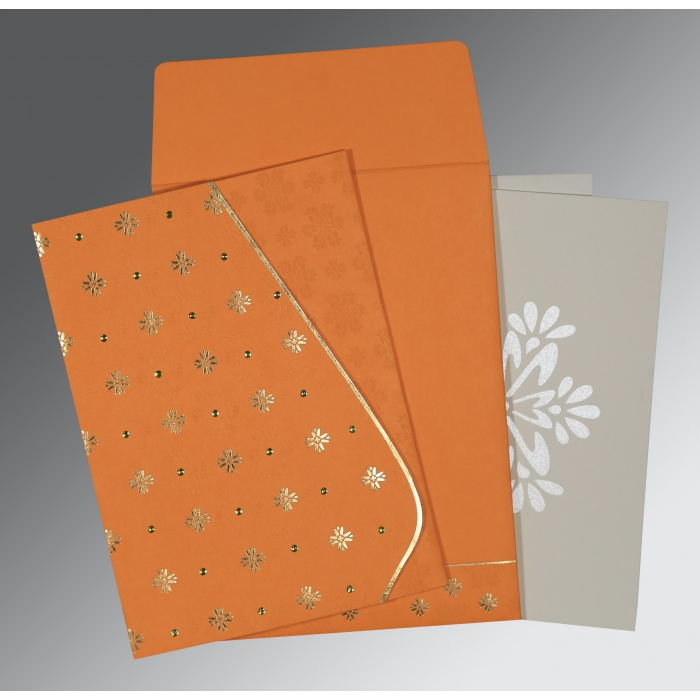 Orange Matte Floral Themed - Foil Stamped Wedding Invitation : AC-8237K - A2zWeddingCards