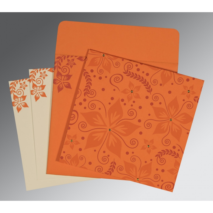 BURNT ORANGE MATTE FLORAL THEMED - SCREEN PRINTED WEDDING INVITATION : AIN-8240K - A2zWeddingCards