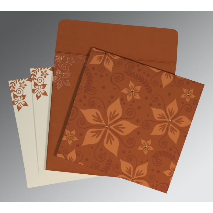 BROWN MATTE FLORAL THEMED - SCREEN PRINTED WEDDING INVITATION : AIN-8240L - A2zWeddingCards