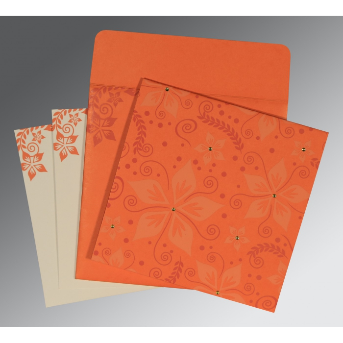 ORANGE MATTE FLORAL THEMED - SCREEN PRINTED WEDDING INVITATION : AIN-8240M - A2zWeddingCards