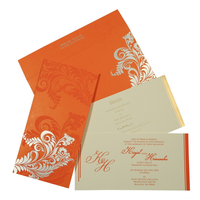 VIVID ORANGE MATTE FLORAL THEMED - SCREEN PRINTED WEDDING CARD : AIN-8259D - A2zWeddingCards