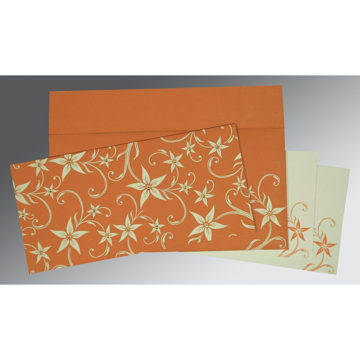 BURNT ORANGE MATTE FLORAL THEMED - SCREEN PRINTED WEDDING INVITATION : AS-8225J - A2zWeddingCards