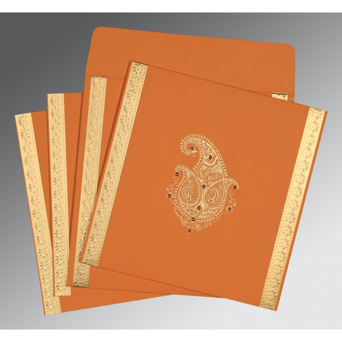 ORANGE MATTE EMBOSSED WEDDING INVITATION : ARU-8231N - A2zWeddingCards