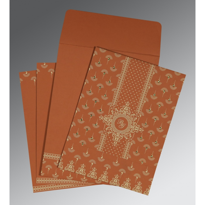 BURNT ORANGE MATTE SCREEN PRINTED WEDDING INVITATION : AI-8247F - A2zWeddingCards