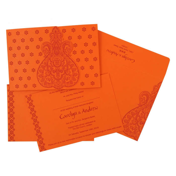 Orange Paisley Themed - Screen Printed Wedding Invitation : AC-801D - A2zWeddingCards