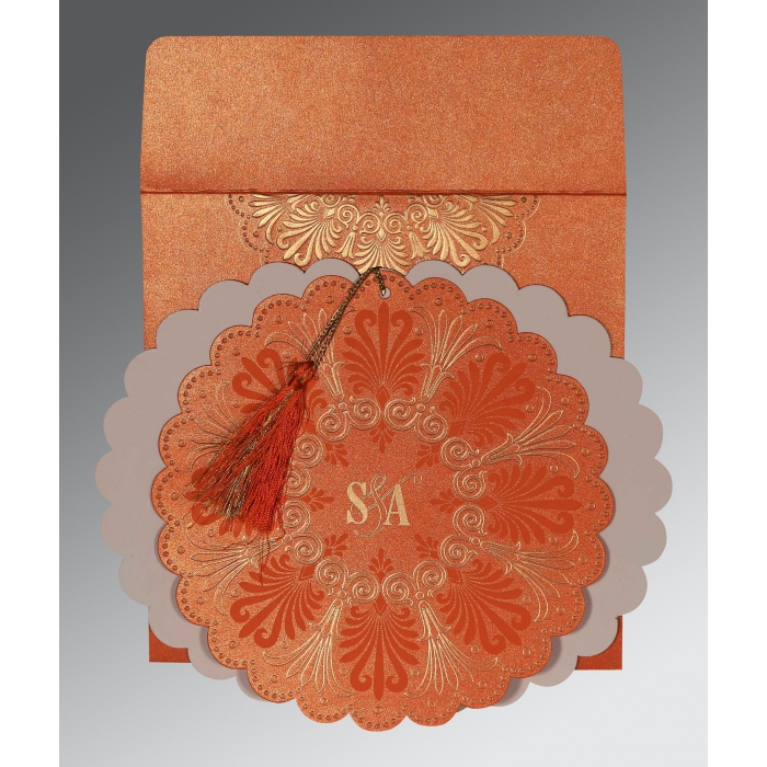 Orange Shimmery Floral Themed - Embossed Wedding Card : AI-8238F - A2zWeddingCards