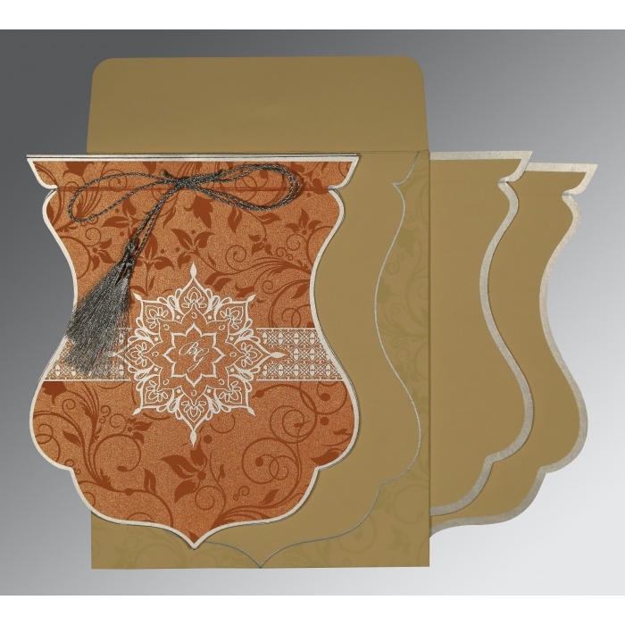 METALLIC ORANGE SHIMMERY FLORAL THEMED - SCREEN PRINTED WEDDING CARD : AD-8229I - A2zWeddingCards