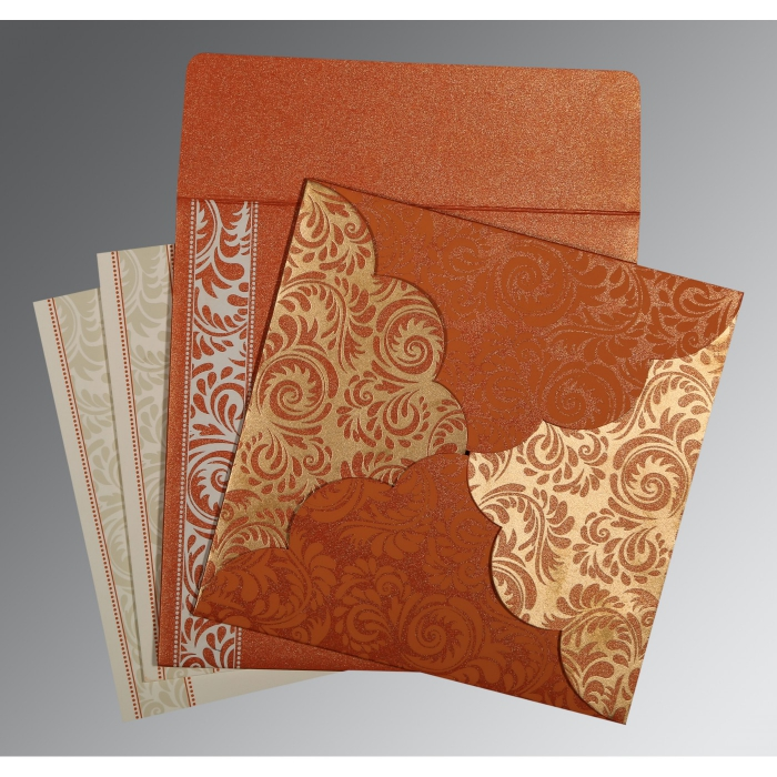 Orange Shimmery Floral Themed - Screen Printed Wedding Card : AIN-8235G - A2zWeddingCards