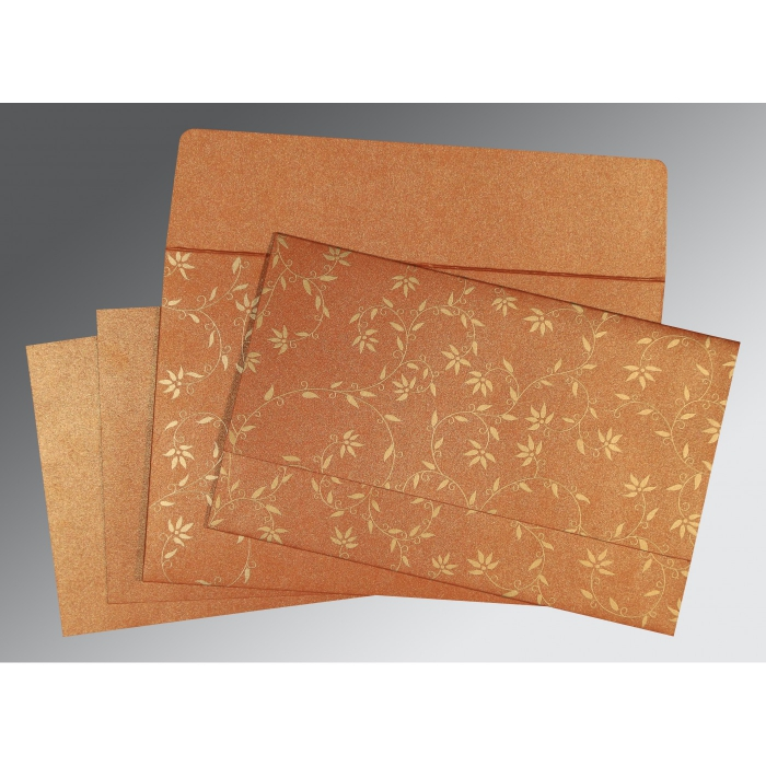 BURNT ORANGE SHIMMERY FLORAL THEMED - SCREEN PRINTED WEDDING INVITATION : AW-8226E - A2zWeddingCards