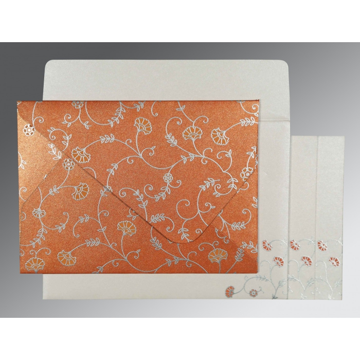PEACH SHIMMERY FLORAL THEMED - SCREEN PRINTED WEDDING INVITATION : AW-8248E - A2zWeddingCards