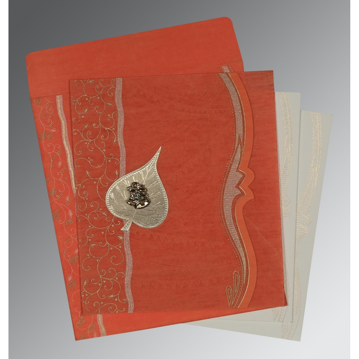 Orange Wooly Embossed Wedding Card : AC-8210F - A2zWeddingCards