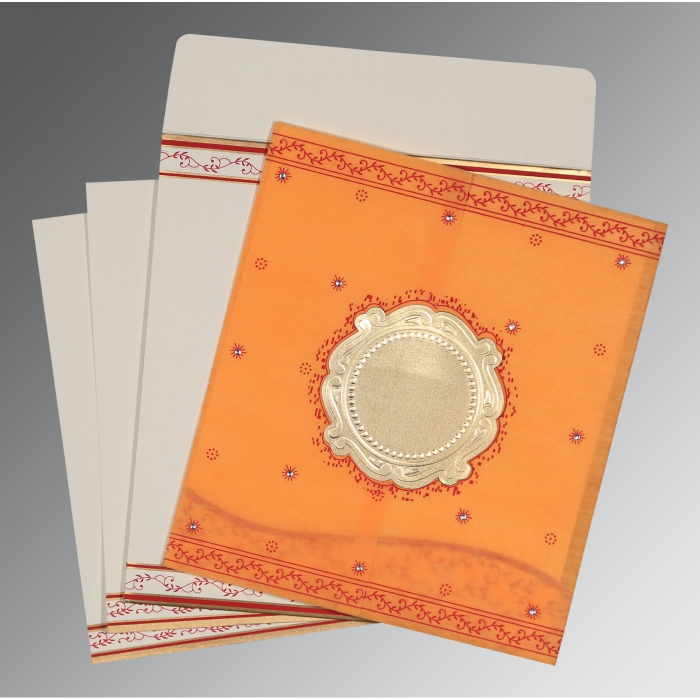 Orange Wooly Embossed Wedding Invitation : AD-8202B - A2zWeddingCards