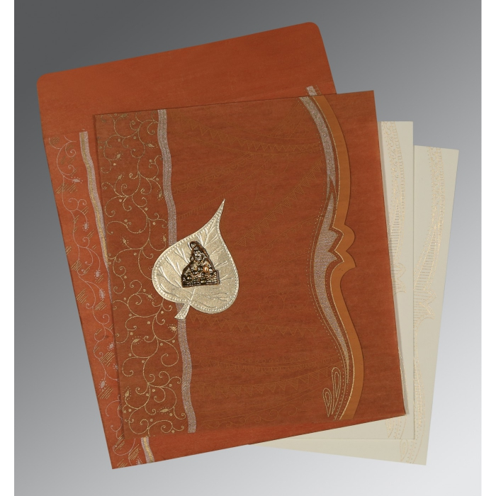 BURNT ORANGE SHIMMERY EMBOSSED WEDDING CARD : AG-8210D - A2zWeddingCards