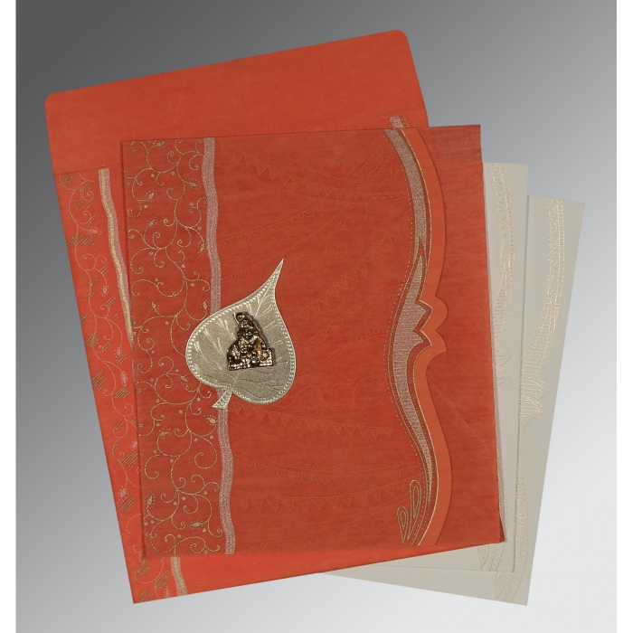 CORAL SHIMMERY EMBOSSED WEDDING CARD : AG-8210F - A2zWeddingCards
