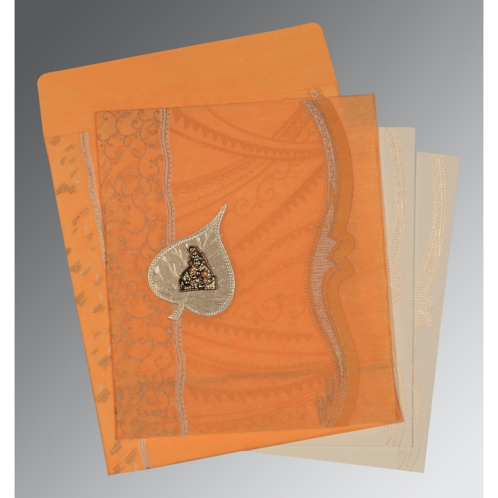 LIGHT ORANGE SHIMMERY EMBOSSED WEDDING CARD : AG-8210L - A2zWeddingCards