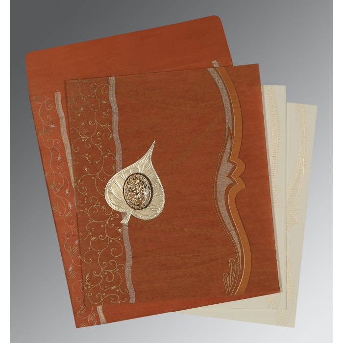 BURNT ORANGE SHIMMERY EMBOSSED WEDDING CARD : AI-8210D - A2zWeddingCards