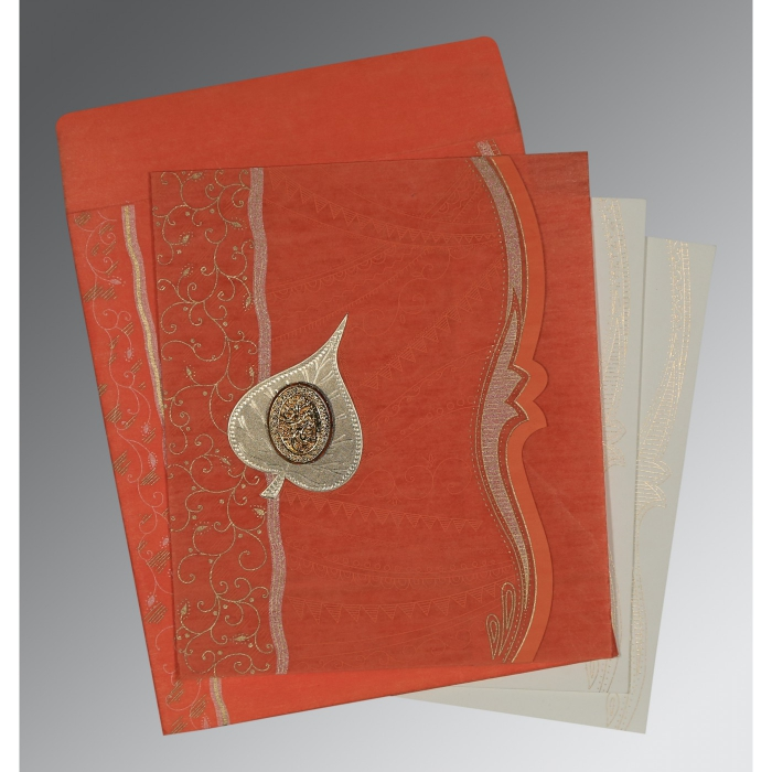 CORAL SHIMMERY EMBOSSED WEDDING CARD : AI-8210F - A2zWeddingCards