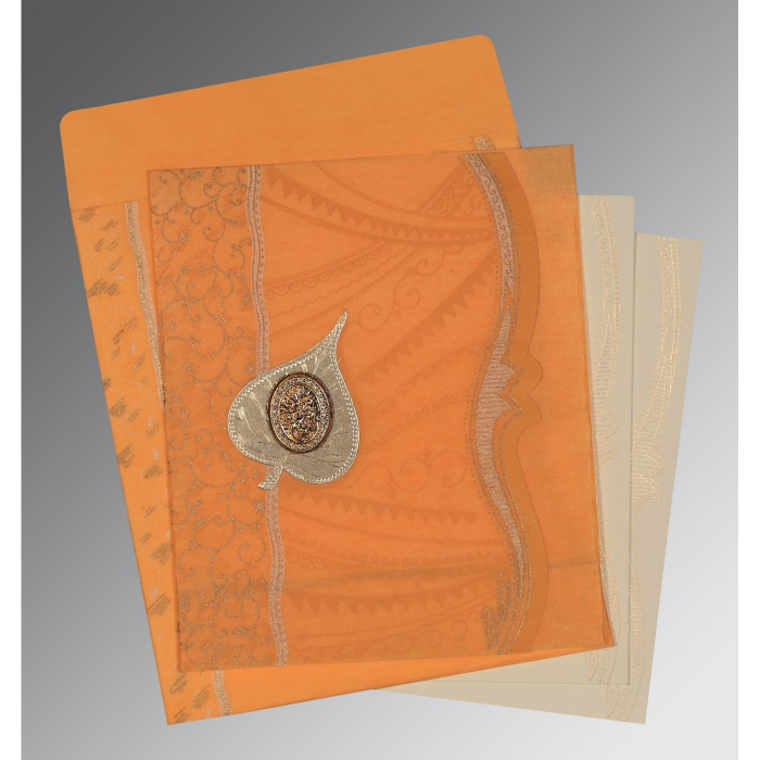 LIGHT ORANGE SHIMMERY EMBOSSED WEDDING CARD : AI-8210L - A2zWeddingCards