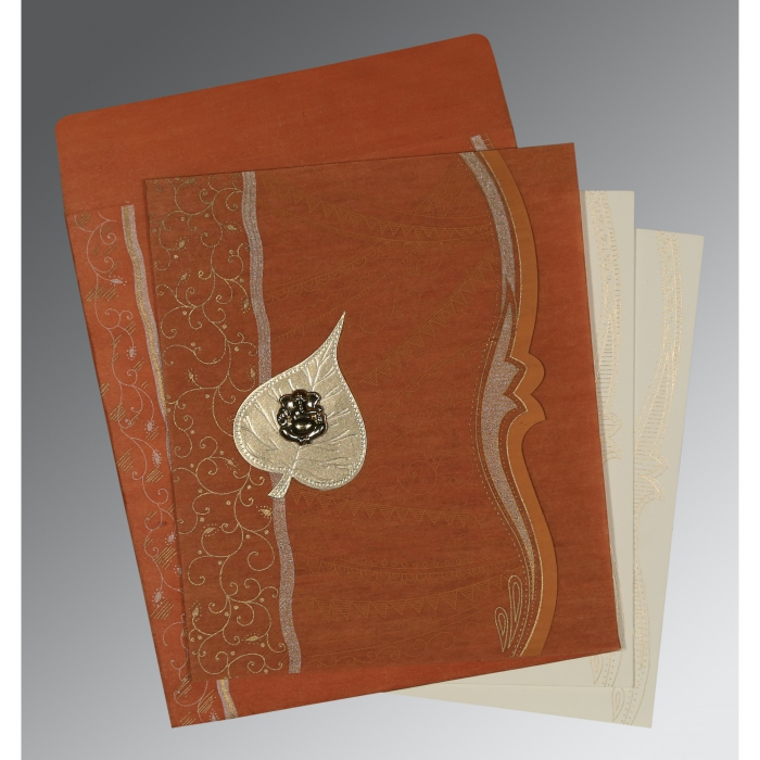 BURNT ORANGE SHIMMERY EMBOSSED WEDDING CARD : AIN-8210D - A2zWeddingCards