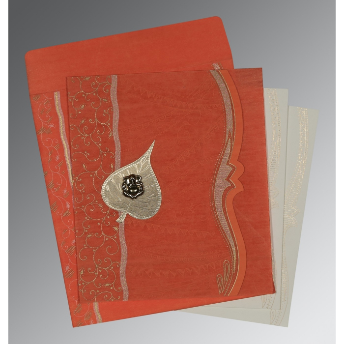 Orange Wooly Embossed Wedding Invitations : AIN-8210F - A2zWeddingCards