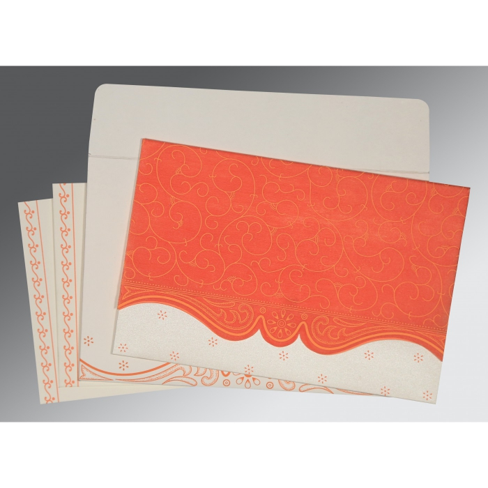 Orange Wooly Embossed Wedding Invitation : ARU-8221L - A2zWeddingCards