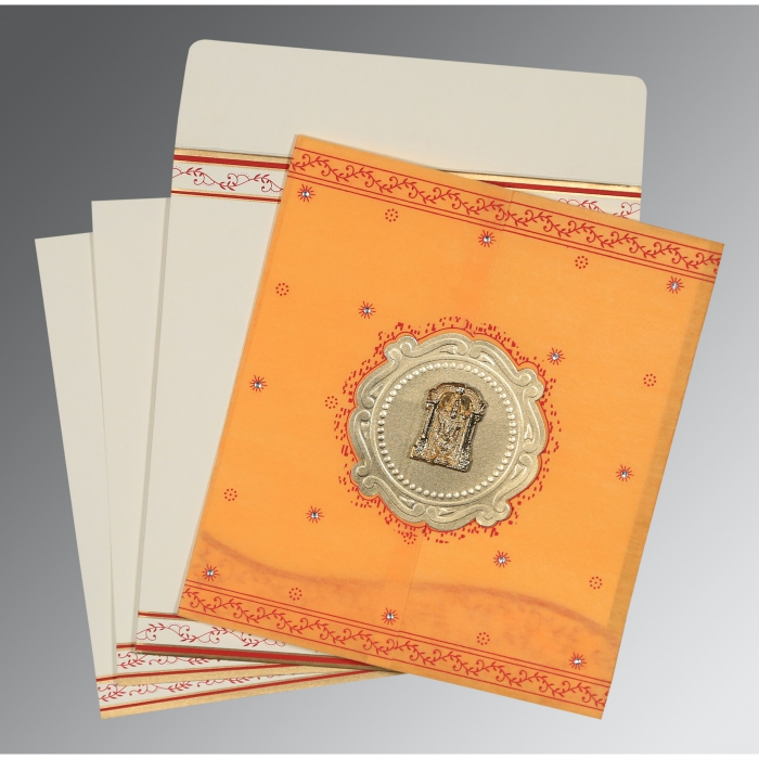 Orange Wooly Embossed Wedding Invitations : ASO-8202B - A2zWeddingCards