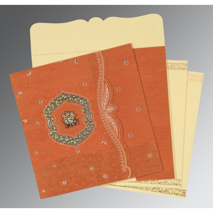 Orange Wooly Floral Themed - Embossed Wedding Card : AG-8209D - A2zWeddingCards