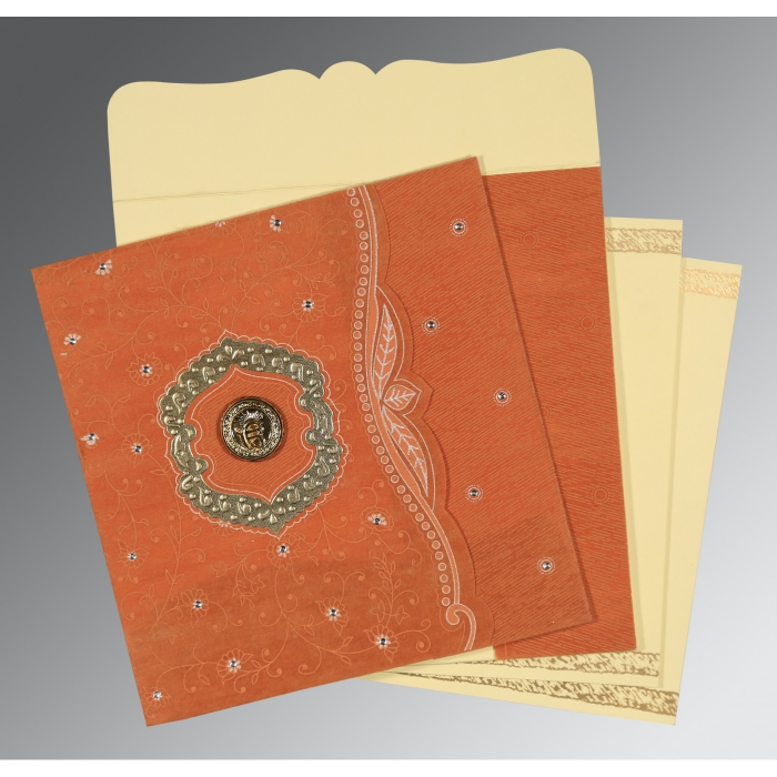 BURNT ORANGE SHIMMERY FLORAL THEMED - EMBOSSED WEDDING CARD : AS-8209D - A2zWeddingCards
